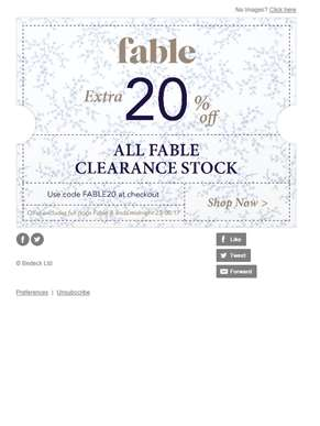 Extra 20% Off Fable Clearance Ends Tonight