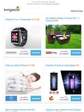 Deals for you: 15-in-1 Smartwatch £14.99 | 4pc Rattan Furniture Set £89 | 8 Bounce-Back Pillows £14.