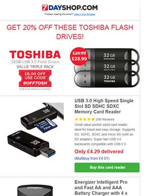 GET 20% OFF with Voucher Code 6OFFTOSH - Plus 5 Delivery Included Deals