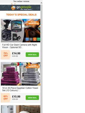 Wide Angle Dash Cam inc Delivery £14.99 | 20 or 10pc Egyptian Cotton Towel Set £15.99 | 24 Toothbrus