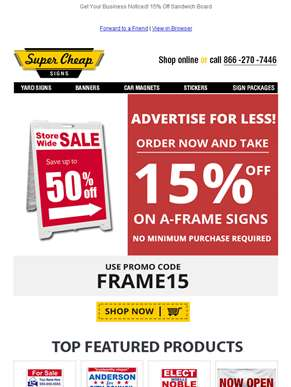 Special 15% Off on All A-Frame Signs