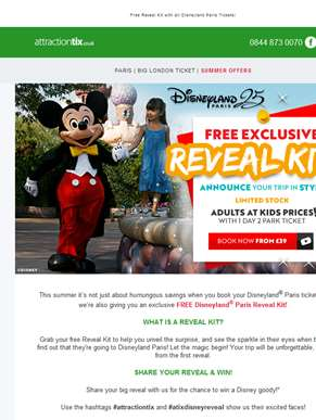Book Disneyland Paris for £39! Adults @ Kids Prices for Limited Time Only & FREE Exclusive Reveal Ki