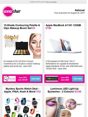Contour Palette & Brush Set £5 | Apple MacBook A1181 £199 | Mystery Sports Watch Deal £12 | Light-Up
