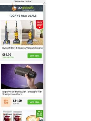 Big Brands Small Prices! Dyson Vacuum Cleaner £89 | Tassimo Costa Coffee Pods £12.99 | Night VIsion