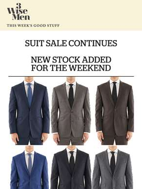 Suit Sale Continues. All Suits $400. New stock in store for the weekend.