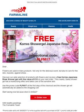 Receive a free Korres showergel and discover our products with flowers!
