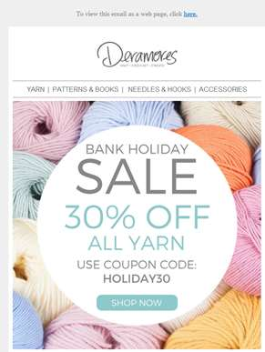 Bank Holiday Sale! 30% Off ALL Yarn