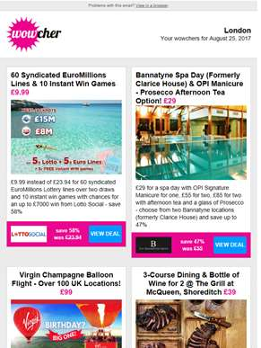 60 EuroMillions Lines & 'Instants' £9.99 | Bannatyne Spa Day & OPI Manicure £29 | Virgin Champagne B