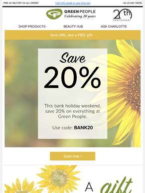 Save 20% this bank holiday | Plus a free gift
