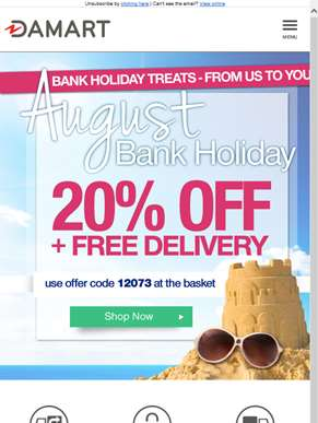 Enjoy 20% off this Bank Holiday