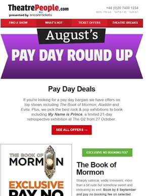 August's Pay Day Deals