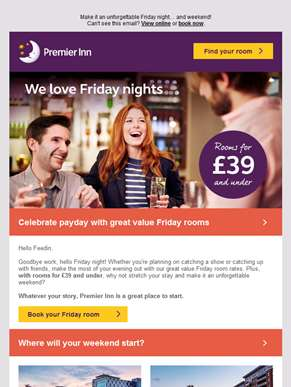 Love Friday nights? Rooms for £39 and under