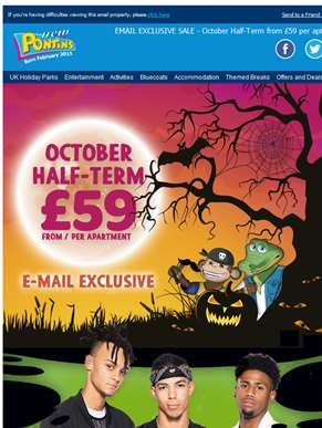 EMAIL EXCLUSIVE SALE - October Half-Term from £59 per apartment.