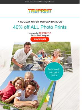 Get snap happy this long weekend - 40% off ALL prints