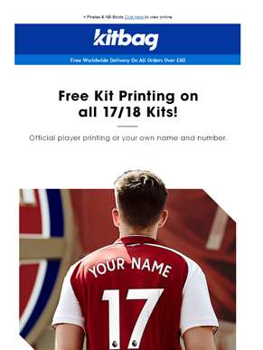 This Is Big...Free Printing On All 17/18 Kits