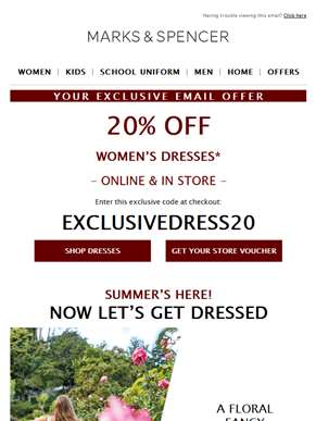 Enjoy 20% off dresses - summer styles to wow all season