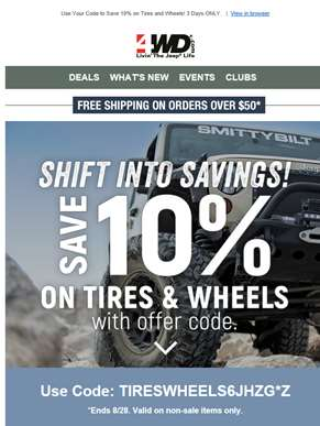 Pre-Labor Day Sale! Save 10% on Tires & Wheels