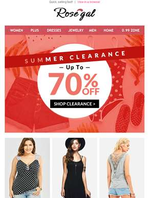70% OFF | Huge Summer Clearance