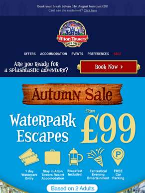Waterpark Escapes from £99 for two!