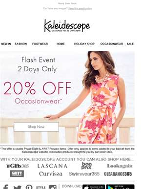 Ends Tonight! 20% Off Occasionwear