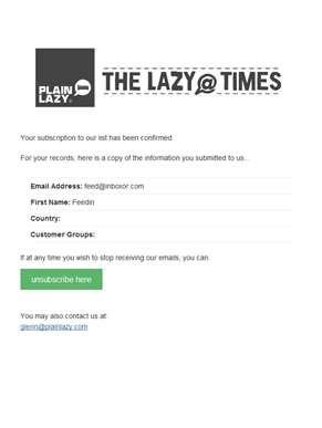 Plain Lazy Newsletter: Subscription Confirmed