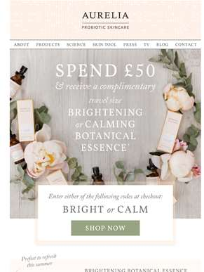 Brighten or Calm your Skin with a Gift From Us...