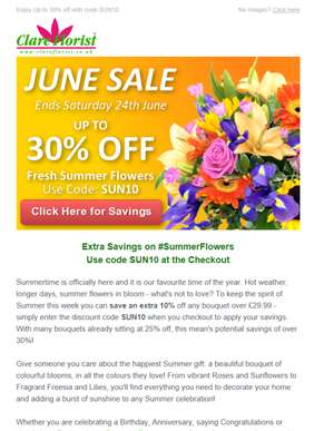 Up to 30% Off Fresh Summer Bouquets Sale: Use Code SUN10 at Checkout