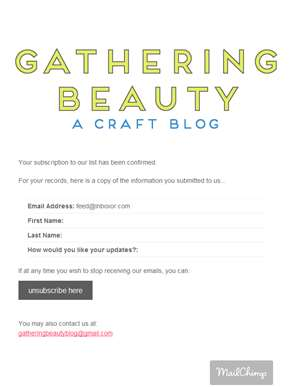 Gathering Beauty Newsletter: Subscription Confirmed