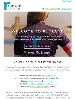 Firstname, welcome to Rutland Cycling, you'll be the first to hear about all our offers!