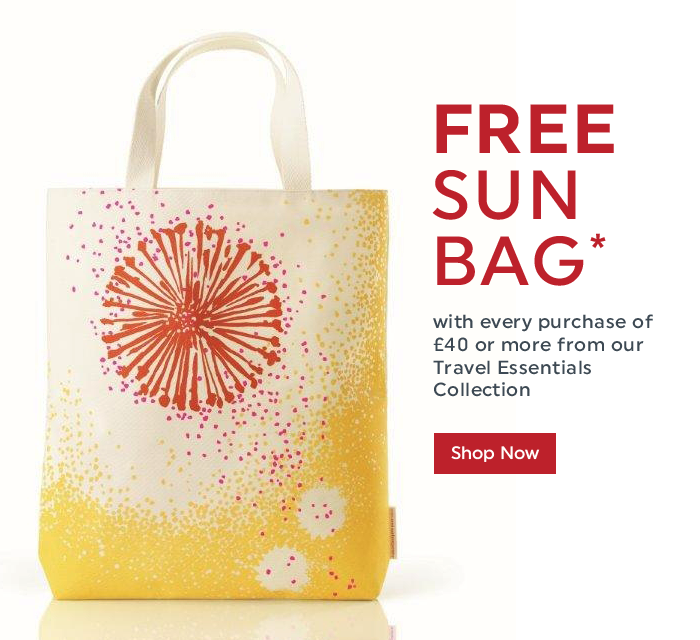 Free Sun Bag with every purchase of £40 or more from our Travel Essentials Collection. Shop now!